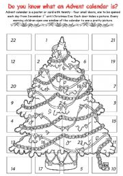 English Worksheet: advent calendar 1