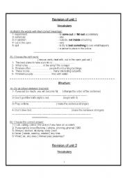English Worksheets: revision for 2 secondary
