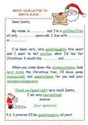 Write your letter to Santa Claus