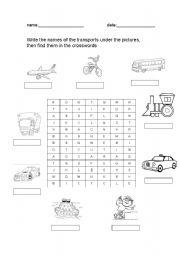 English Worksheet: crossword puzzle transports