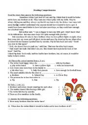English worksheet: Girl in the family