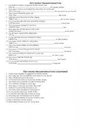 English Worksheet: key word transformation