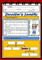 English Worksheets: JENNIFER�S FAMILY ( 2 PAGES)