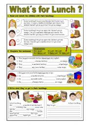 English Worksheet: Have got/Has got & Food