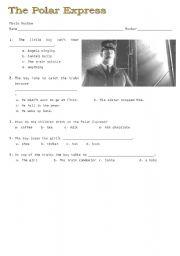 English teaching worksheets: Polar Express