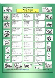 English Worksheet: Animal Riddles 1 (Easy)