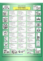 English Worksheets: Animal Riddles 1 (Easy)