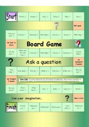 English Worksheet: Board Game - Ask a Question (Easy)