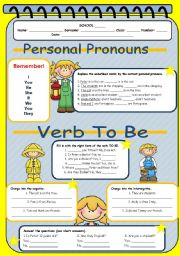 English Worksheet: Personal Pronouns + Verb To Be