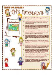 English Worksheet: True or false? The Romans  + Keys