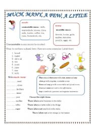 English Worksheet: much, many
