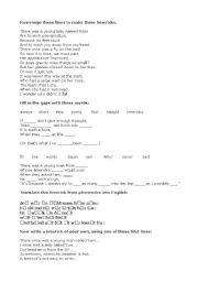 English Worksheet: Limericks worksheet