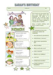 English Worksheet: SARAH�S BIRTHDAY