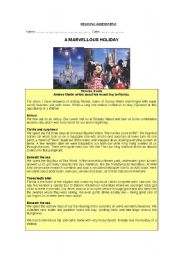 English worksheet: A MARVELLOUS HOLIDAY