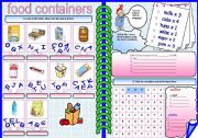 English Worksheet: food containers