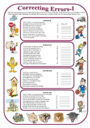 English Worksheet: Correcting Errors-I (with answer key)