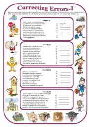 English Worksheets: Correcting Errors-I (with answer key)
