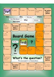 English Worksheet: Board Game - What�s the Question (Medium)