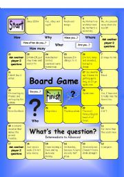 English Worksheet: Board Game - What�s the Question (Hard)