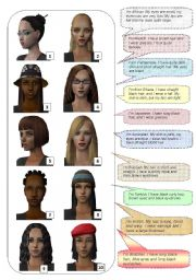 English Worksheets: Match the faces with the descriptions (face - adjectives)