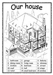 English Worksheet: Parts of a house