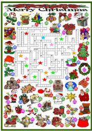 English Worksheet: CHRISTMAS - CROSSWORD (KEY AND B&W VERSION INCLUDED)