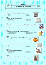 English Worksheet: Game: Who wants to be a millionaire (including key) PART II