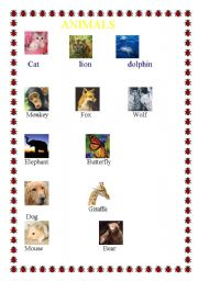 English Worksheets: ANIMALS WITH PICTURES-3 PAGES