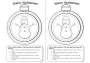 English Worksheet: Christmas Snowman Activity for Following Instructions
