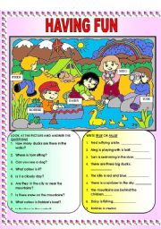 English Worksheets: having fun