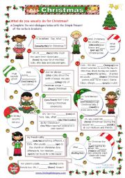 English Worksheet: Christmas Set  (6)  -  What do you usually do for Christmas?