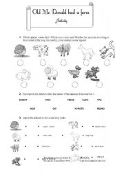 English Worksheet: Old Mc Donald had a farm - activity