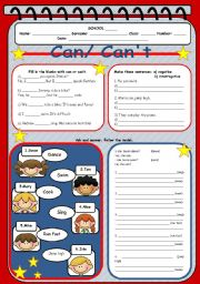 English Worksheet: Can/ Can´t