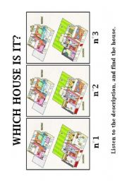 English Worksheet: Which house is it ? Listening comprehension and description.