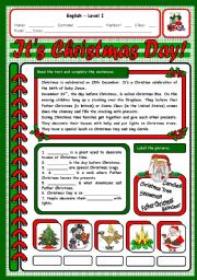 English Worksheet: IT´S CHRISTMAS DAY 2