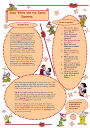 Snow White and the Seven Dwarves - adapted for easy reading + 2 different types of  exercises.