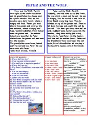 English Worksheet: Peter and the wolf.
