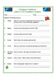 English Worksheet: Christmas Traditions within NATO Member countries