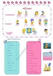 English Worksheet: The Simpsons´ family tree, vocabulary, marital status, exercise