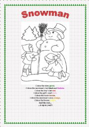 English Worksheet: Snowman for colouring