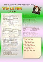 English Worksheet: Viva la vida 2 - Coldplay
