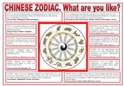 English Worksheet: PERSONALITY. Chinese Zodiac.