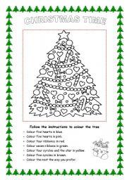 English Worksheet: Christmas tree