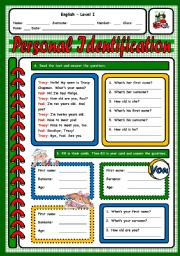 English Worksheet: PERSONAL IDENTIFICATION TEST - (3 PAGES)