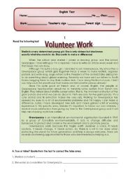 English worksheet: written test (4 pages) about volunteer work