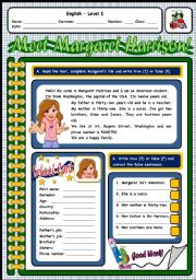 English worksheet: MEET MARGARET HARRISON! (2 PAGES)