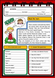 English Worksheets: PERSONAL INFORMATION - R/C (2 PAGES)