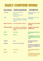 English worksheet: Easily confused words