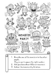 English Worksheet: Monster Party