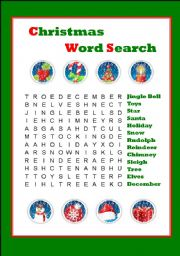 English teaching worksheets: Christmas word search